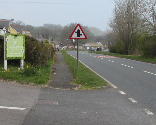 Warning sign - staggered crossroads, Libanus, Powys
