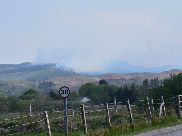 Forest fire above Acharacle