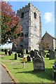 SJ3058 : Tower of St Cynfarch and signage by Richard Hoare
