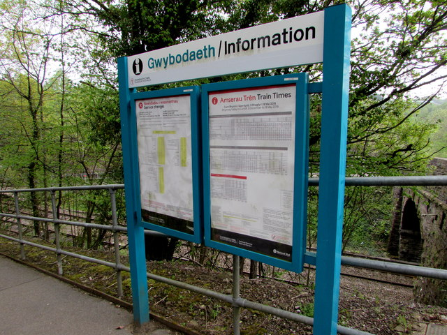 Information boards at the entrance to Gilfach Fargoed railway station