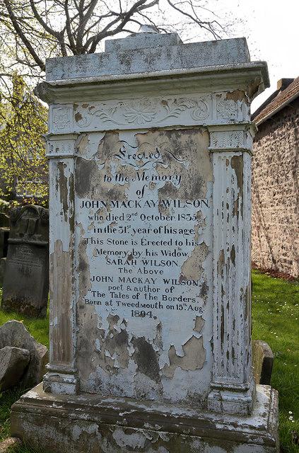 A memorial to John Mackay Wilson in Tweedmouth Parish Churchyard