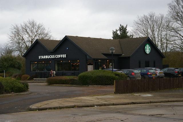 Starbucks coffee shop next to motel, Capel St. Mary