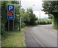 SO3204 : Usk Road parking area and emergency phone half-a-mile ahead, Penperlleni by Jaggery