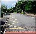 SO3204 : Zigzag yellow markings, School Lane, Penperlleni by Jaggery