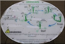 NO3801 : Sign on adult exercise area in Letham Glen by Bill Kasman
