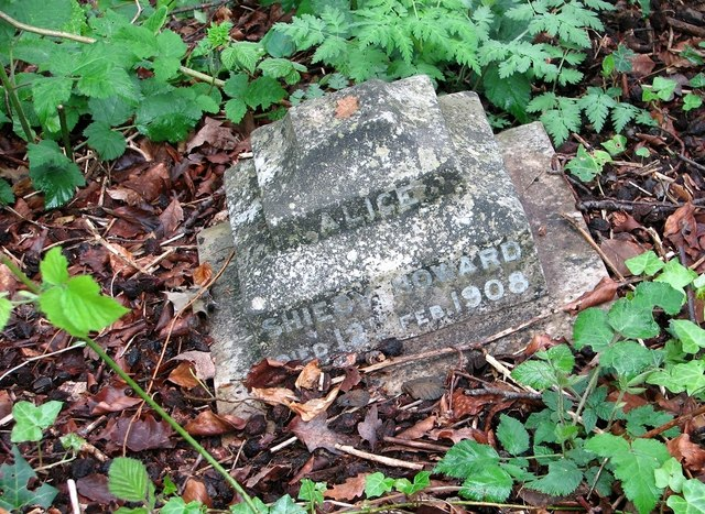 The remains of a gravestone