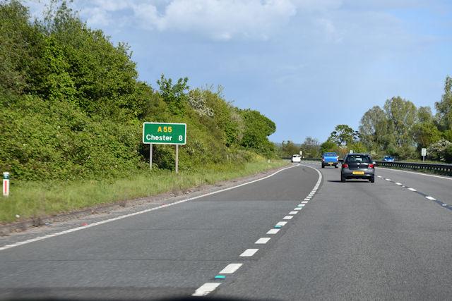 A55 slip road at Broughton
