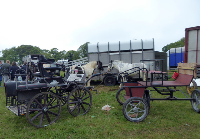 Horses and trailers at Stow Horse Fair May 2019