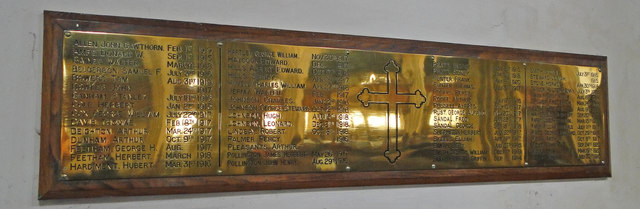WW 1 War memorial in Upwell St. Peter's church
