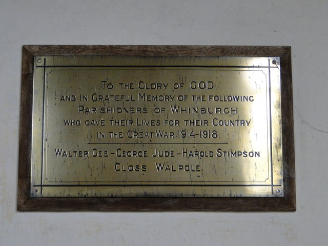 WW1 Memorial in Whinburgh church
