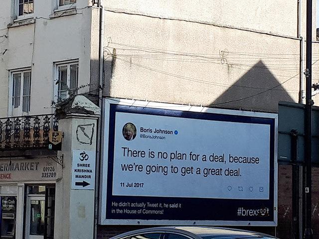 Anti-Brexit poster, Leamington Spa High Street