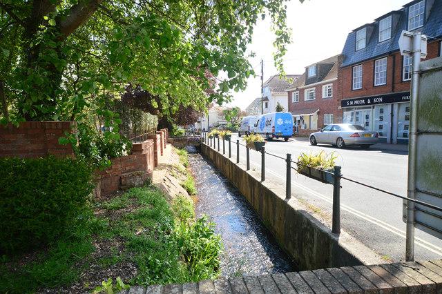 Stream running alongside Fore Street in Budleigh Salterton
