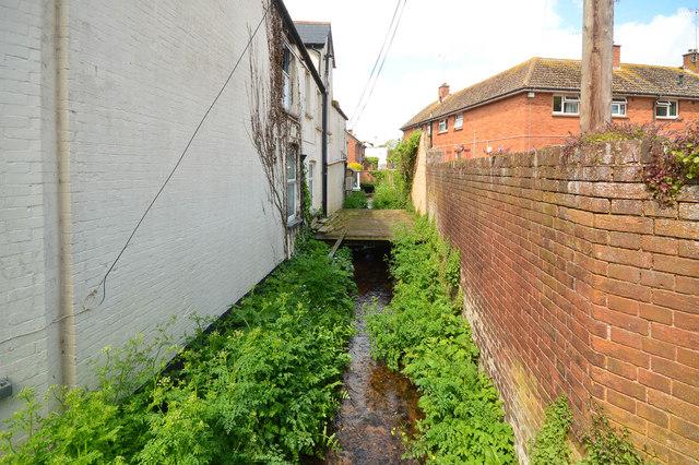 Stream running behind Fore Street in Budleigh Salterton