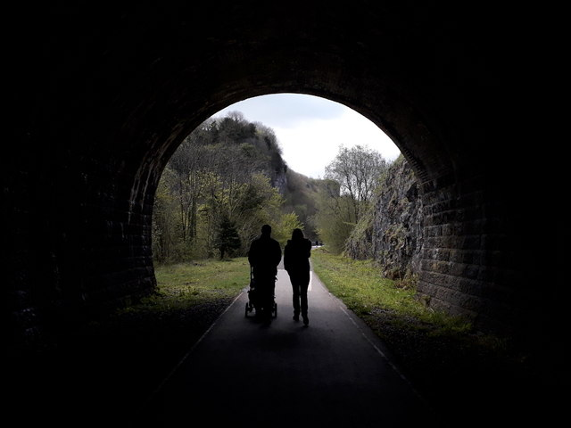 Chee Dale: silhouettes with pushchair exit Chee Tor №2 Tunnel