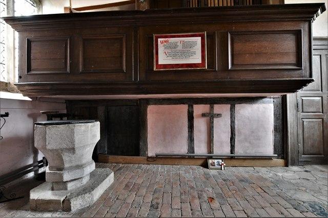 Croft Castle, St. Michael's Church: The font