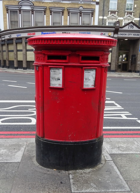 Double aperture Victorian postbox on City Road. London EC1