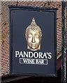 TQ5387 : Sign for Pandora's Wine Bar, Hornchurch  by JThomas