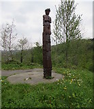 ST1599 : Miners sculpture in Bargoed Woodland Park by Jaggery