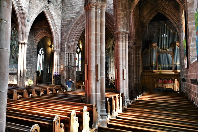 Nantwich, St. Mary's Church: Looking along the south aisle to the organ, installed 1890