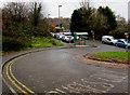 ST1494 : Bus lane near Ystrad Mynach railway station by Jaggery