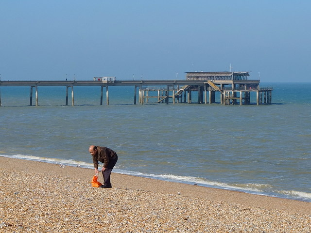 Pebble Collector on the Shingle Beach at Deal