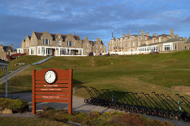 Moray golf course and clubhouse at Lossiemouth