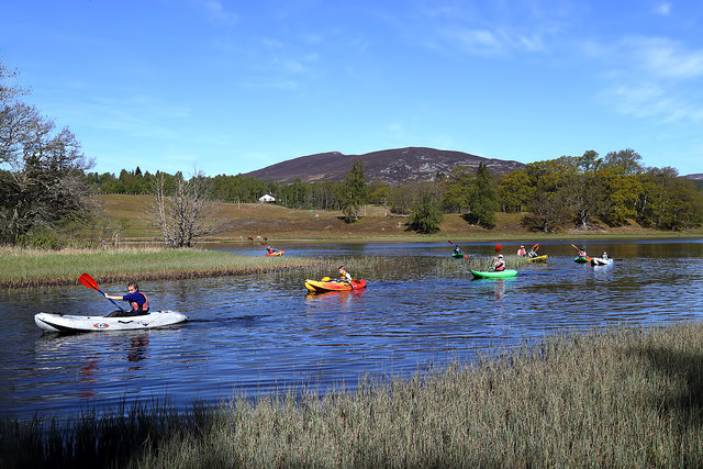 Canoeing at the northeast end of Loch Insh