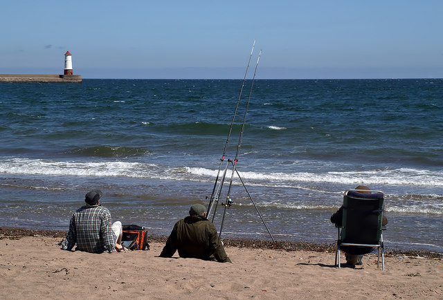 Sea anglers at Sandstell Point