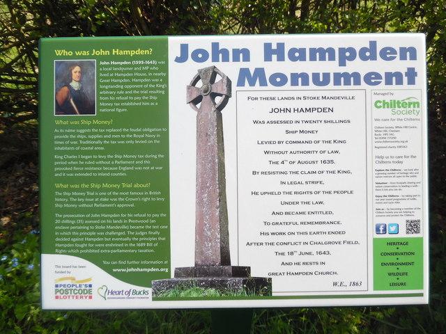 Information Board at John Hampden Monument, Prestwood
