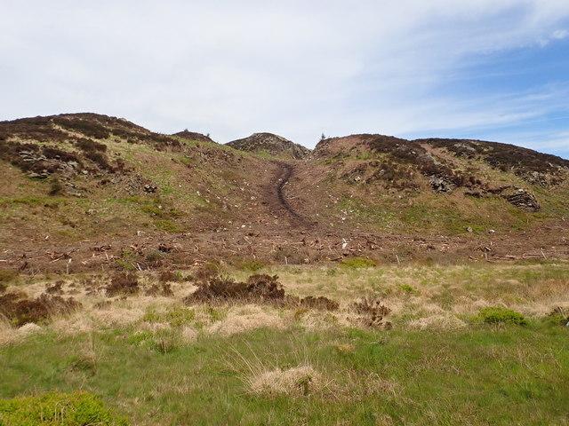 View across the col between Croslieve and Slievebrack