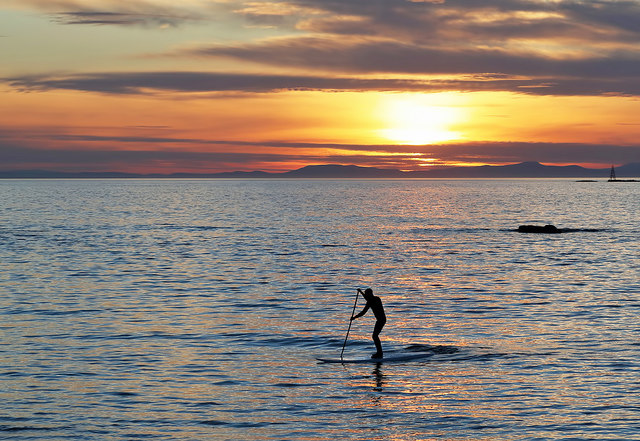 A stand up paddle boarder at Lossiemouth