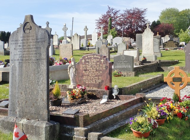 Adjoining graves of various periods at St Mary's Graveyard, Mullaghbane