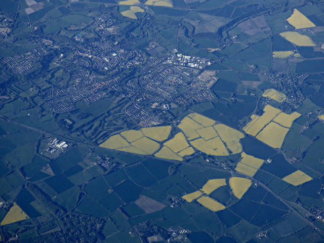 The A1 road and Morpeth from the air