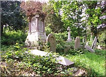 TG2408 : Monument and graves on the terraces by Evelyn Simak