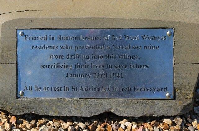 Memorial plaque, West Wemyss