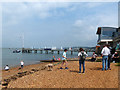 SZ3589 : Beach and landing stages, Yarmouth, Isle of Wight by Robin Drayton
