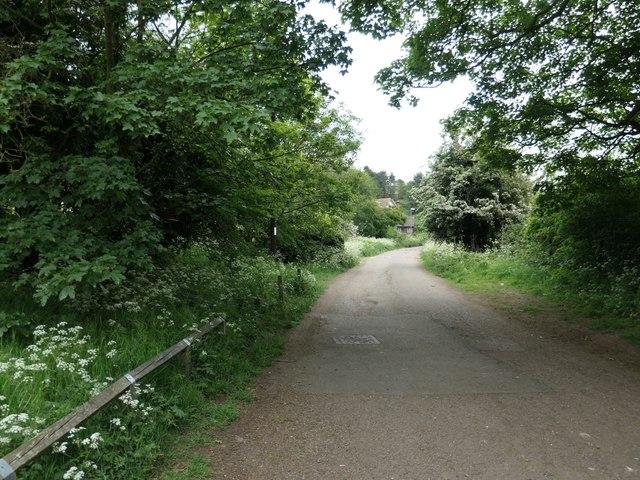 Lane heading south-east to Newbold Comyn