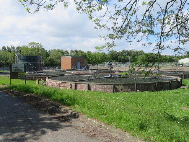 Connah's Quay Waste Water Treatment Works and a boundary stone