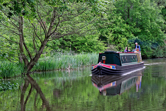 Narrowboat by Hopwas Hay Wood in Staffordshire