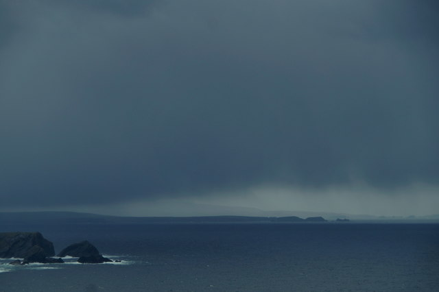 Tonga Stack, Yell and north Mainland from Hermaness Hill