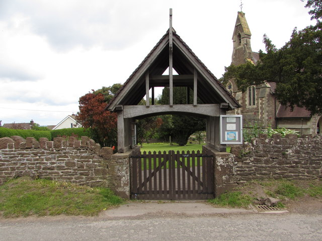 Lychgate at the entrance to Christ Church,  Llangrove, Herefordshire