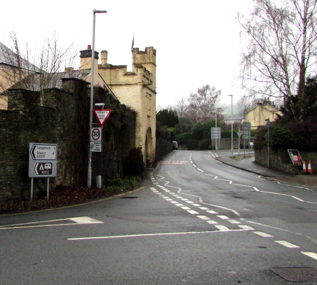 Junction of the A4077 and A40, Crickhowell