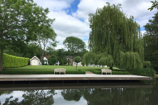 Canal lawn and willow