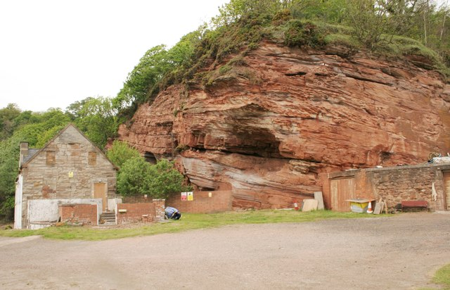 Red sandstone crag and Shorehead