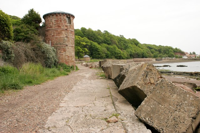 Two towers and sea defences