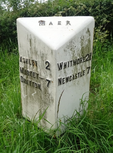 Old milepost on the Nantwich Road (A51), Maer