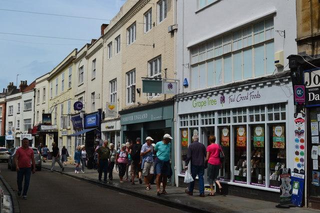Shops in High Street, Wells