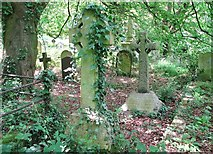 TG2408 : Two stone crosses in Section H by Evelyn Simak