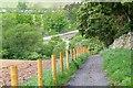 NT3335 : Descent to Tweed Bridge car park, Innerleithen by Jim Barton