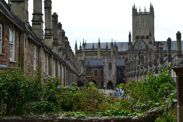 Vicars' Close and the cathedral,  Wells